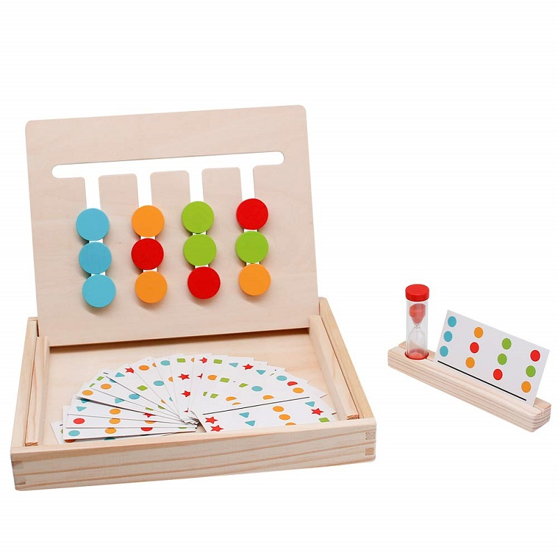 Wooden Montessori Toys Matching Logic Game Color Shape Sorting Maze Slide Puzzle Board Kids Educational Gift For Children Boys image