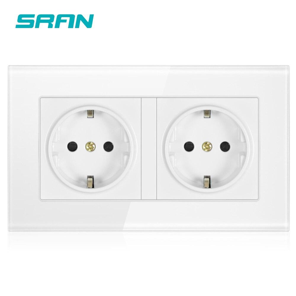 SRAN ścienne Panel ze szkła kryształowego 146*86 wiele sposobów gniazdo zasilania wtyczka uziemione 16A Standard ue elektryczne podwójne listwy zasilającej