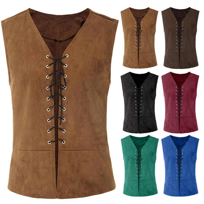 Mens Medieval Sleeveless Lace-up Vest Renaissance Waistcoat