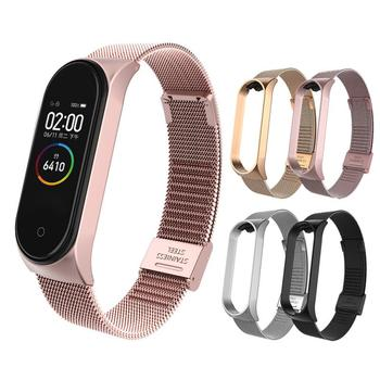 Metal Strap For Xiaomi Mi Band 3 4 Stainless Steel Wristband With Sturdy Clasp For Xiaomi Mi Band 4 3 Replacement Watch Band battery for xiaomi mi band 2 wristband li polymer rechargeable accumulator pack replacement 3 7v with 2 lines