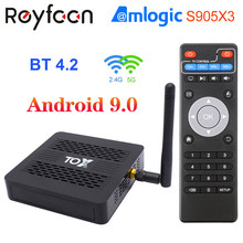 Tox1 smart android 9.0 tv caixa 4gb 32gb amlogic s905x3 2.4g 5g duplo wifi 1000m bt 4.2 4k media player para dolby atmos áudio tvbox