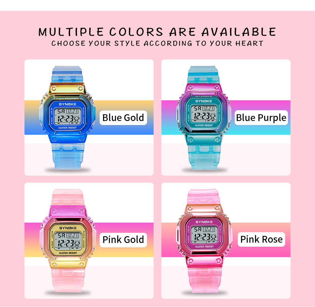 SYNOKE Unique Design Women Digital Watches Fashion Waterproof LED Unisex Watch Waterproof Ladies Electronic Relogio Feminino