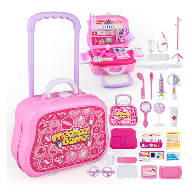 Kids Doctor Toy Set Simulation Family Doctor Medical Kit Toy Pretend Play Portable Trolley Case Medicine Accessorie Children Toy