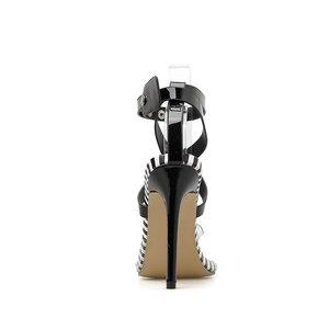Image 5 - Kcenid Nieuwe Transparante PVC wees teen zomer sandalen vrouwen sexy hoge hakken vrouwen schoenen multi color cross band klinknagels pompen