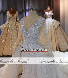 Image 5 - יוקרה מלא ואגלי בת ים שמלות כלה עם נתיק רכבת כבד ואגלי חתונת כלה שמלות