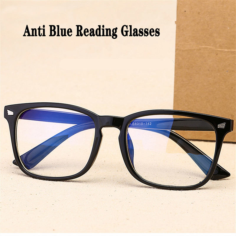Retro Square Decorative Glasses Women Anti Blue Light Computer Glasses Big Size Reading Glasses Eyeglasses Frame Diopters +3.5+4