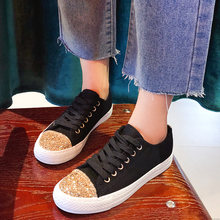 Ladies Canvas Shoes Glitter Sneakers Woman Vulcanized Shoes Female Fashion Lace-Up Gold/sliver Sequins White Shoes Woman Flats(China)
