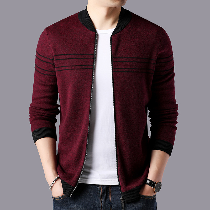Men Casual Striped Cashmere Wool Cardigan Men 2019 New Arrival Autumn Winter Warm Zipper Coats Brand Sweater Coat