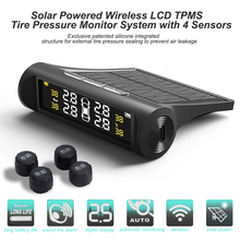 AN001 Solar Car TPMS LCD Display Auto Tire Pressure Monitoring Tyre Temperature Alarm Warning System