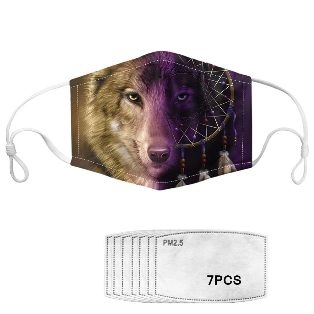Indian Style Dreamcatcher Print Adults Mask Wolf Pattern Men Face Mask With 7pcs Filters Dustproof Washable Masks