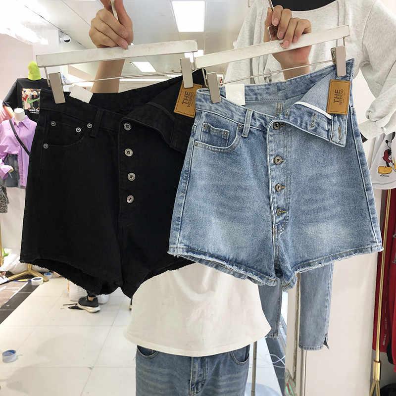 여성 반바지 여름 2020 새로운 데님 4 버클 커프 데님 반바지 한국어 버전 하이 웨스트 가방 엉덩이 짧은