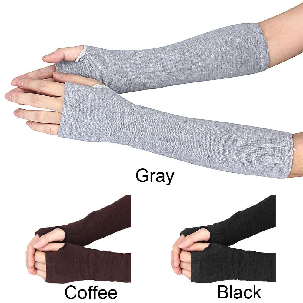 06# Winter Glove Wrist Arm Hand Warmer Knitted Long Fingerless Gloves Mitten Black Gloves