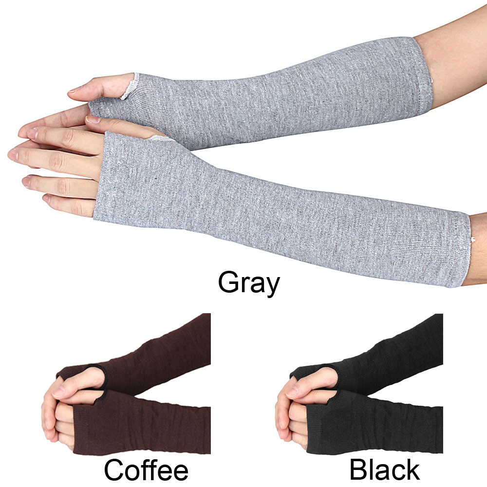 Winter Glove Wrist Arm Hand Warmer Knitted Long Fingerless Gloves Mitten Black Gloves