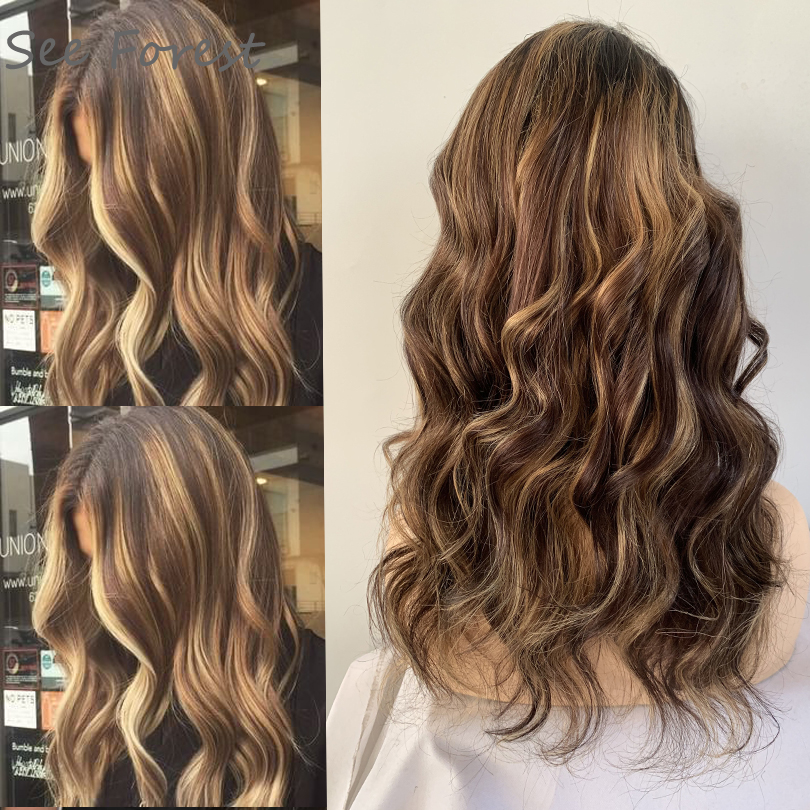 13x6 Colored Human Hair Wigs Honey Blonde Highlighted Deep Part Wigs Long Body Wave Remy Preplucked Ombre Brown Lace Front Wig