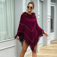 Ladies Autumn Winter Knitted Sweater Faux Fur Neck Pullover Poncho Warm Thick Beading Tassel Coat 2019 Women Casual Loose Shawls