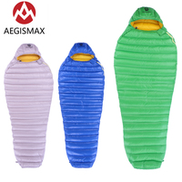 AEGISMAX Mummy Sleeping Bags With Hood Outdoor Camping Hiking White Goose Down Water Repellent Ultralight Leto Sleeping Bag