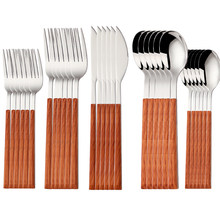 5/10/15/20/25/30pcs Imitate Wooden Handle Tablewell Cutlery For Dinner Kitchen Dining Silverware Dinnerware Spoon and Fork Set
