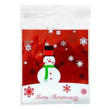 100 pcs Sachets Pouches Snowman Packing Bag for Cookies Biscuits Candy(China)