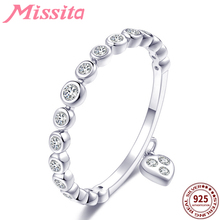 MISSITA 925 Sterling Silver Round Crystal Heart Charm Rings for Women Brand Jewelry Ring Gift For Girlfriend Hot Sale