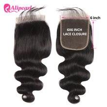 Perruque Lace Closure brésilienne naturelle Remy – AliPearl Hair, Body Wave, couleur naturelle, 6x6, 10-20 pouces, avec Baby Hair