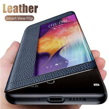 Inteligentne skórzane etui do Huawei P40 P30 P20 Lite Mate 30 20 10 Pro Nova 7i 5T 3 3i Honor 8X 20 Pro 20i 10 Lite P Smart Plus 2019 tanie i dobre opinie Gmnitarwish Etui z klapką Smart View Flip Stand Case Matowy Zwykły Odporna na brud Anti-knock Podpórka Adsorpcji Smart View Flip Leather Case