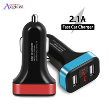 Dual USB Car Charger for iPhone 11 Pro XR With Smart LED Display Mobile Phone Chargers Car Charger for Huawei Mate 30 Pro Tablet
