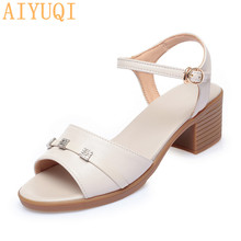 AIYUQI Women's Sandals Large Size 2020 Summer New Genuine Leather Ladies Mid-heel Casual