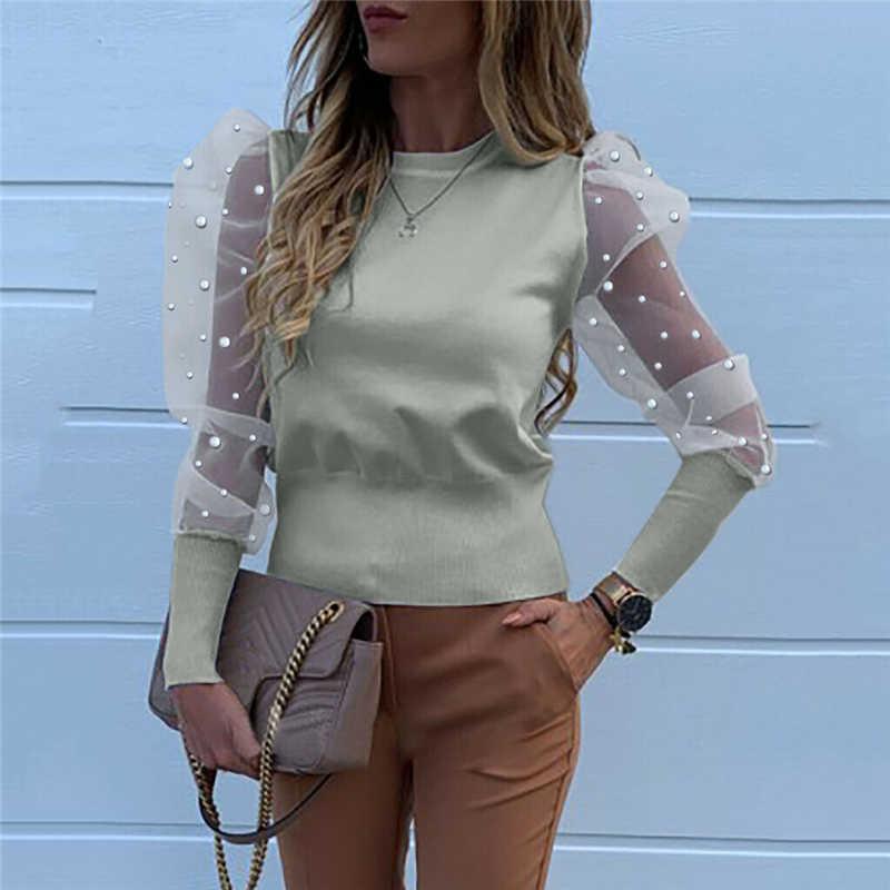אופנה 2020 נשים O צוואר חולצות רשת טול לפרוע חולצות ארוך פאף שרוול חולצה מוצק צבע ליידי חולצות סתיו נשים OL חולצות