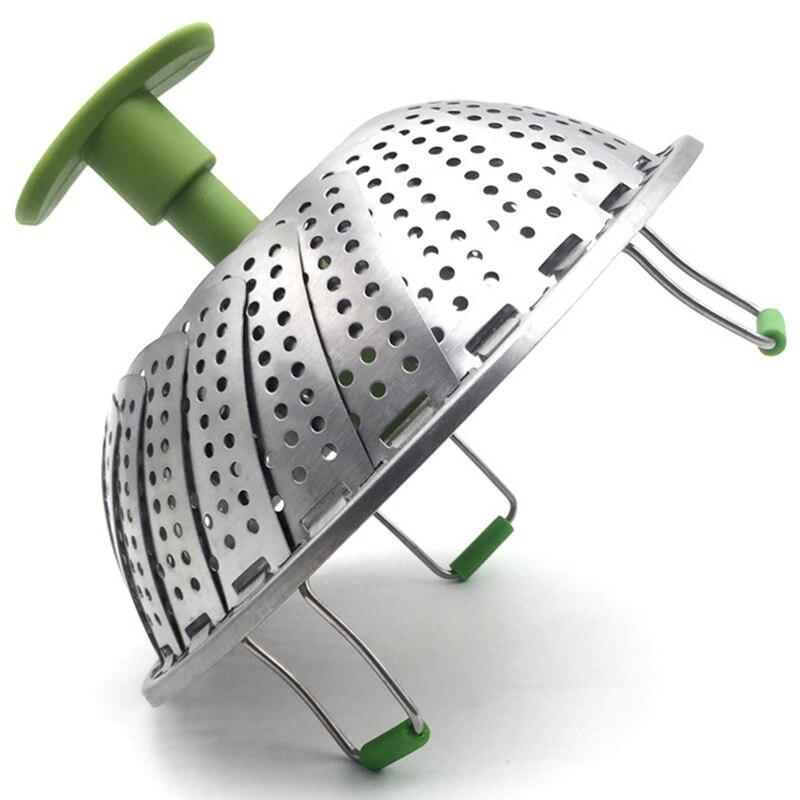 ELEG-Steamer Basket Stainless Steel Vegetable Steamer Basket Folding Steamer Insert For Veggie Fish Seafood Cooking (the Maximum