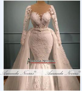 Image 3 - Vestido de casamento com renda sereia, saia destacável 2 em 1 vestidos de casamento