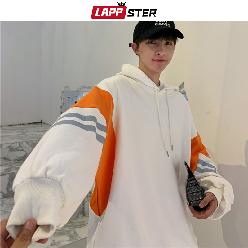 LAPPSTER Men Japanese Streetwear Hooded Hoodies 2020 Mens Oversized Harajuku Patchwork Sweatshirts Male Fashions Casual Hoodie