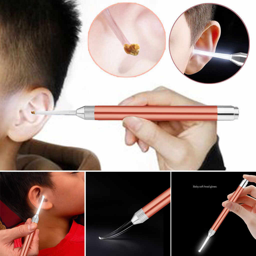LED Ear Earpick ชุดเครื่องมือทำความสะอาดหูไฟฉาย Earpick ทำความสะอาดไฟ led หูสะอาดส่องสว่าง Ear Light ช้อน