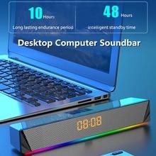 Computer Bluetooth Speaker Home Theater Subwoofer Clock Display Soundbar Wireless Stereo Surround Bass Column for Laptop PC TV