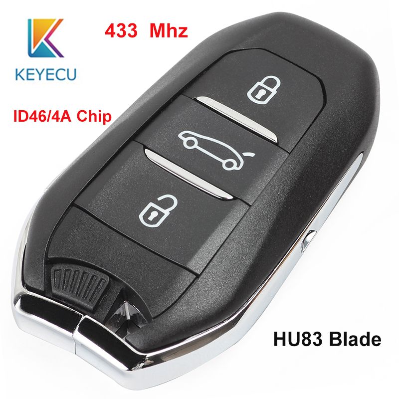 KEYECU 433MHz PCF7945 ID46 / 4A Chip Smart Remote Car <font><b>Key</b></font> Fob 3 Button for <font><b>Peugeot</b></font> 301 308 408 <font><b>4008</b></font> 508 5008 HU83 image