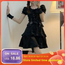Women's Gothic Lolita Dress Goth Punk Gothic Harajuku Mall Goth Style Bandage Black Dress Emo Clothes Y2k Spring 2021