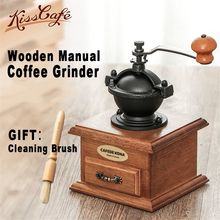 цена на Classical Wooden Manual Coffee Grinder Hand Stainless Steel Retro Coffee Spice Mini Burr Mill With High-quality Ceramic Millston