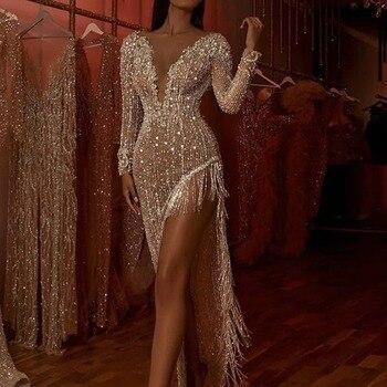 Sexy Asymmetrical Dress with Beads Deep V Long Sleeve Splits Tassel Asymmetrical Evening Dresses Robe De Soiree фото