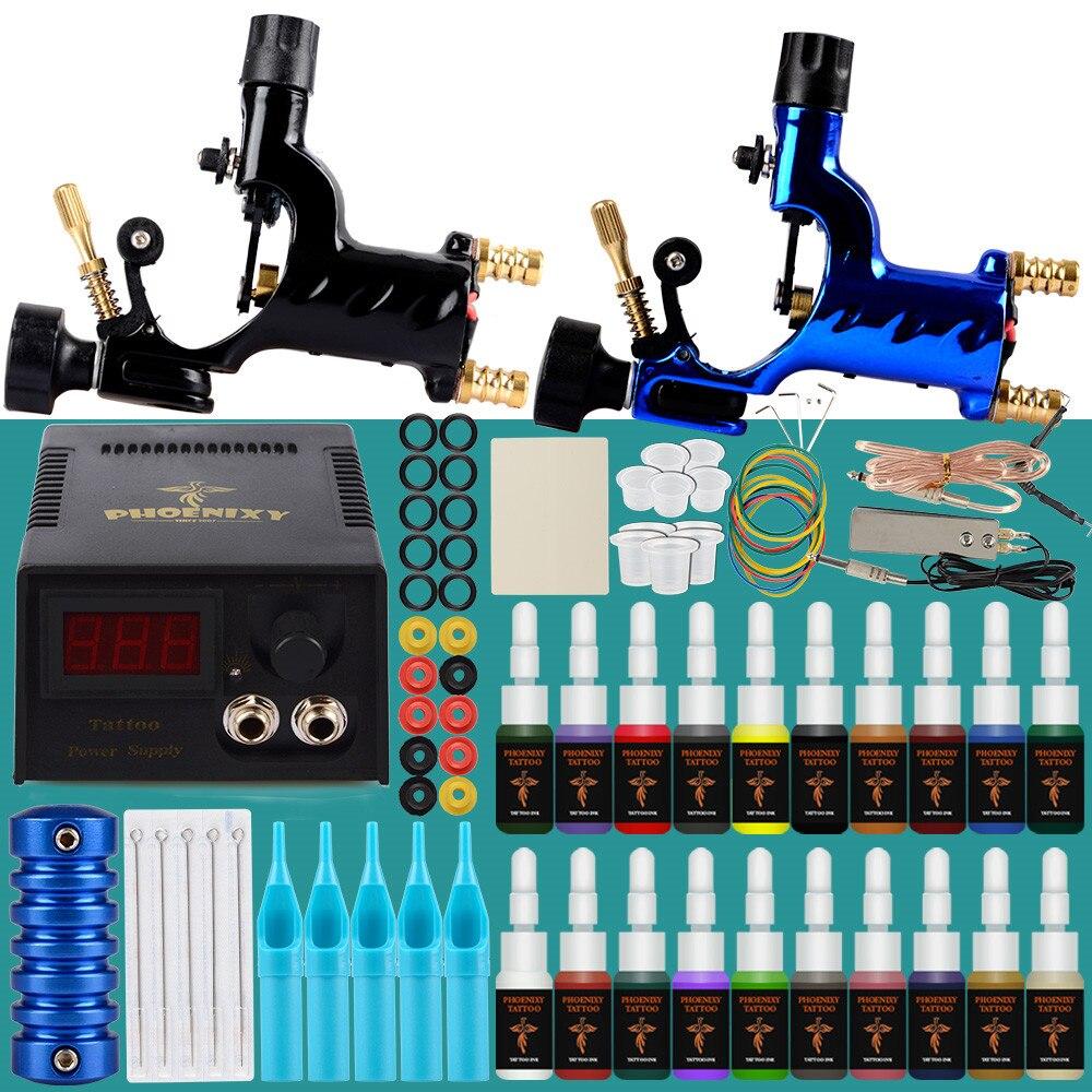 Professional Tattoo Kit 2 Rotary Machines Gun Design Tattoo Ink Painting LCD Power Tools Supply Body Art Permanent Tattoo Set