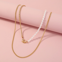 New 2021 Fashion Simple Pearl Chains Choker Necklace Layers Gold Color Metal Snake Chain Necklace Jewelry for Women