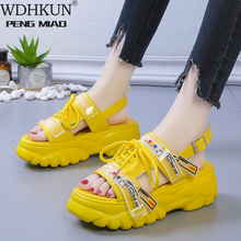 WDHKUN Ankle-wrap Chunky Heel Sandals Women Shoes Wedge High