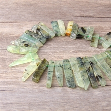 Natural Prehnites Point Beads uartz Sticks Beads Jewelry Supplies,Top Drilled Rough Raw Crystal Points Beads Necklace DIY