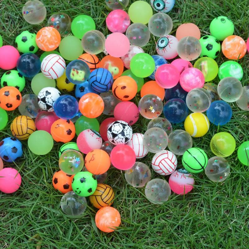 100pcs/pack Solid Rubber Ball Jump Ball Bouncy Ball Children's Toys Ball Mixed Super Bouncy Ball Elastic Rubber Ball Kids Xmas