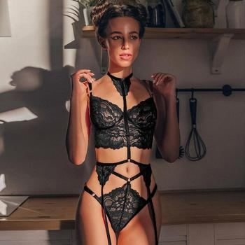 3pcs/set women intimates sexo sheer lace bra+ garter belt+Gstring thong sexy lingerie erotic hot