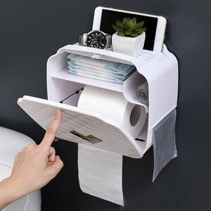 Image 2 - ウォールマウントトイレットペーパーホルダー収納ボックストイレットペーパートレイ防水浴室ティッシュボックスロール紙管バスルームオーガナイザー