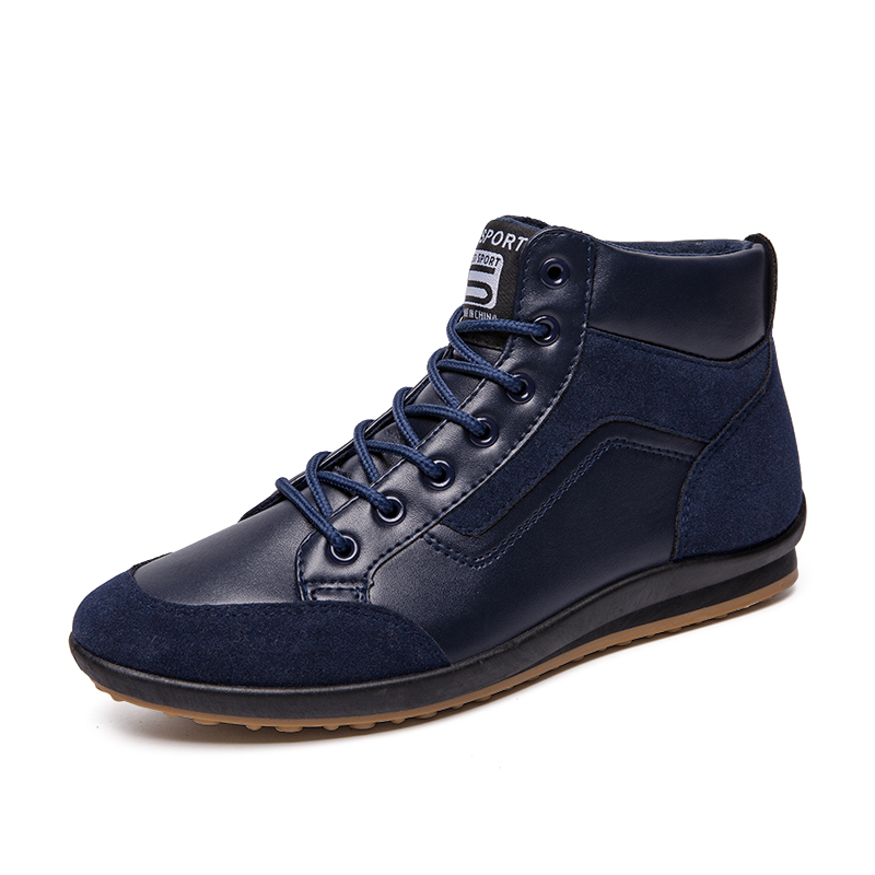 Casual PU Leather Men Shoes Soft Comfortable Men Walking Flat Footwear Blue Brown Boot Ankle Plus Size Man Fahsion Sneakers