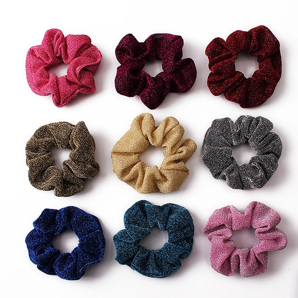 Simple Hairbands Women's Winter Glitter Headband Hair Scrunchies Hair Tie Hair Accessories Ponytail Holder Hair Free Shipping