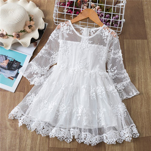 White Lace Dress For Girls Princess Costume Long Sleeve Winter Kids Wedding and Birthday Party Prom Gown Children Autumn Clothes