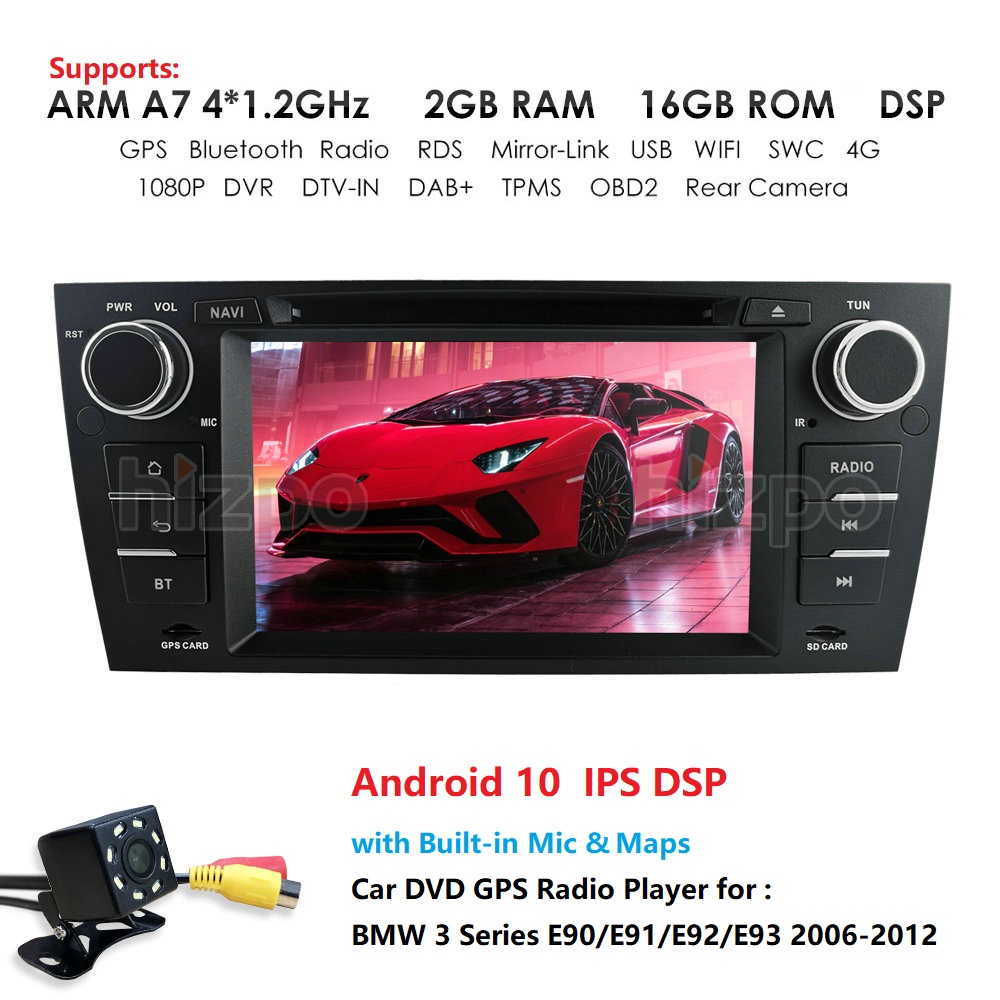 7'' DSP IPS 2G+16G <font><b>Android</b></font> 10 Car Radio DVD player For <font><b>bmw</b></font> 3 series <font><b>e90</b></font> <font><b>E91</b></font> <font><b>E92</b></font> <font><b>E93</b></font> GPS Navigation with BT SWC RDS MAP Card USB image