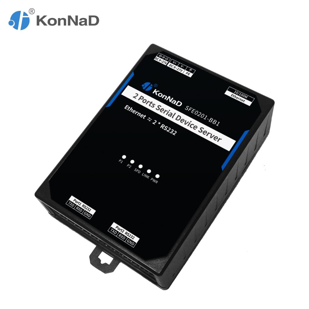 2 Ports RS232 To Ethernet Converter Bidirectional Transparent Transmission Support VCOM DNS Serial Device Server KonNaD
