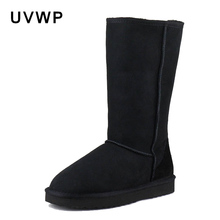 Winter Boots Classic Genuine-Sheepskin-Leather Women Lady Fur Wool Non-Slip Warm 100%Natural